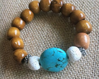 Turqouise and wooden bead bracelet for essential oils // aromatherapy // diffuser