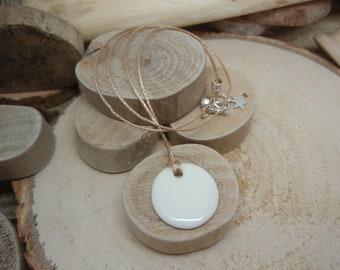 """Le collier """"Disque Céramique"""" blanc"""