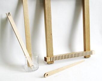 Weaving loom kit, weaving tools, beginner weaving loom kit for hand weaving, natural finish frame loom