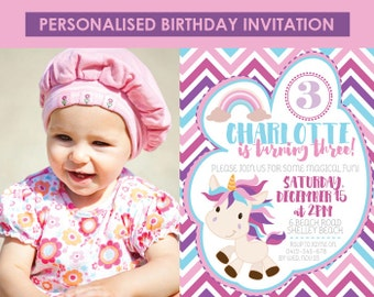 Printable Unicorn Birthday Invitation, Unicorn Invitation, Pink and Purple Invitation, Printable Invitation,1st 2nd 3rd 4th 5th 6th Birthday