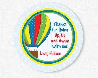 Hot Air Balloon Favor Tags, Hot Air Balloon Birthday Favors, Up, Up and Away Tag, Personalized
