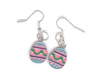 Easter egg earrings, Easter, egg, earrings, charm earrings, Easter egg, pierced earrings, pink egg, pink, green, blue, purple, charms,