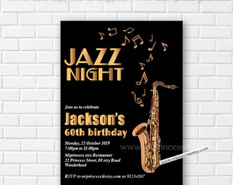 Jazz invitations etsy jazz birthday invitation stopboris Image collections