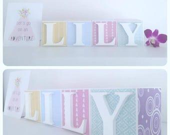Personalised Wooden Name Blocks, Decoupage Baby Blocks- Letter Blocks- Age Blocks- Baby Shower Gift, Baby Girl, Pastel Nursery Decor