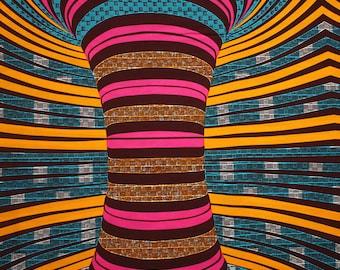 African fabric, Whirlwind Print, Bold Ankara Print, 6 yards, 5.5 metres, Colourful African Fabric, Cotton, Modern African print fabric