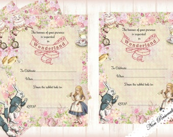 4 x Alice in Wonderland Non-Personalised Invitations with Envelopes