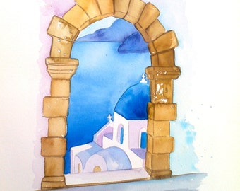 "Santorini Greek Art GREEK PAINTING original greek watercolor 8"" x12"" greek island painting island painting made in greece"