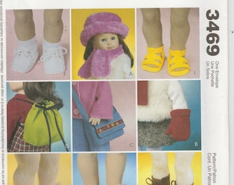 """Doll Shoes Pattern for 18"""" Dolls - Accessories Sandals Backpack Boots Sneakers more uncut pattern  McCalls 3469"""