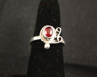 Garnet and Sterling Silver Ring Size 6 1/2
