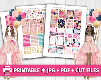 BIRTHDAY PRINCESS Printable Planner Stickers/for use with Erin Condren/Weekly Kit/Cutfiles/Party Glitter Cake Graduation Floral Celebration