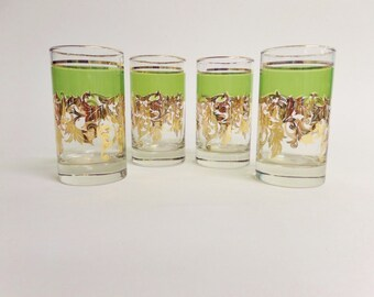 Hollywood Regency Green and 22 Karat Gold Leaf Design Libbey Glasses - Mid Century Tumblers