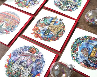 Set of Six 'Christmas in London' Cards. Covent Garden, Somerset House card, Royal Albert Hall card. Xmas cards for London lovers.