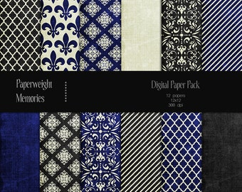 Royal Affair - Instant Download - digital patterned paper - digital scrapbooking - blue and grey patterned & textured paper - Commercial use