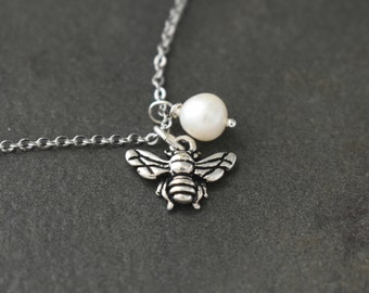 Botanical Blooms, Bumble Bee Necklace, Tiny Bee Necklace, Bee Pendant, Bee Jewelry, Silver Bee Charm, Pearl necklace, Bridesmaids Necklace