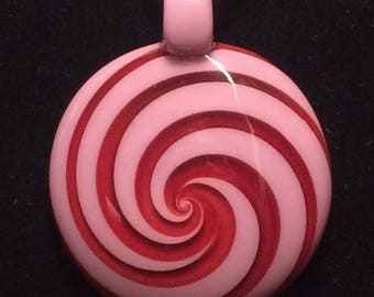 Mauve and Red Spiral Glass Pendant