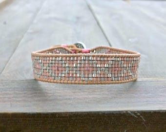 Silver to Rose Gold Faded Beaded Bracelet, Diamond and Chevron Loom Woven cuff Bracelet , bead loom bracelet, birthday gift for her