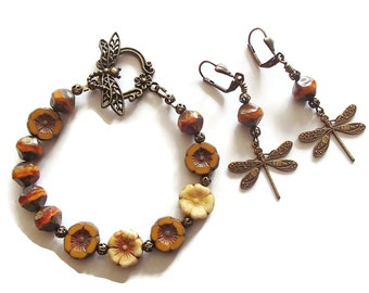Czech Glass Flower Bracelet and Earring Set Ochre Mustard Color Flowers Dragonfly Toggle S89
