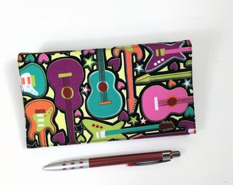 Guitar Checkbook Cover with Pen Holder and Duplicate Checks Flap, Music Checkbook, Bright Guitars Cotton Fabric