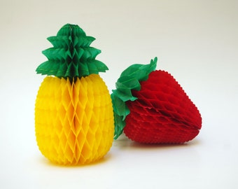 Set of two honeycomb paper fruit, a pineapple and a strawberry