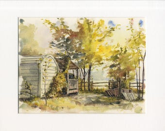 8.5x11 original watercolor of country landscape