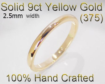 9ct 375 Solid Yellow Gold Ring Wedding Engagement Friendship Half Round Band 2.5mm