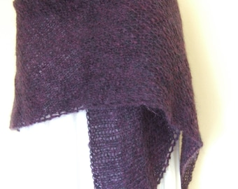 Hand-knit Mohair Shawl/Wrap in Deep Purple