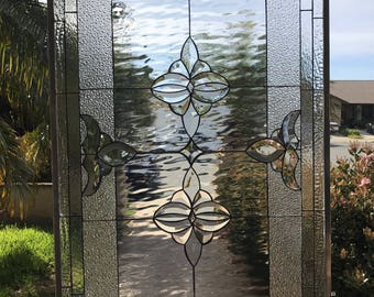 """The """" Riverside """"  Classic Beveled  Stained Glass Window insert Panel (We do custom!  Please email me for a quick quote)"""