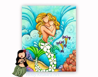 Mom and Baby Mermaids - Mermaid Decor _ Painting Boy Child Mother Children Nursery Room Wall Print Child's Shower Gift Kids Nursery Print