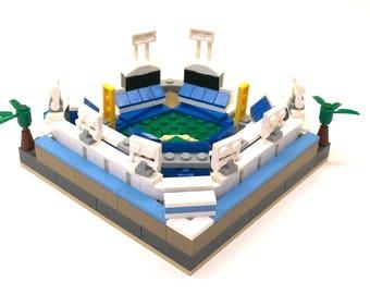 Mini LA Dodger Stadium Custom Brick Set with Printed Instructions