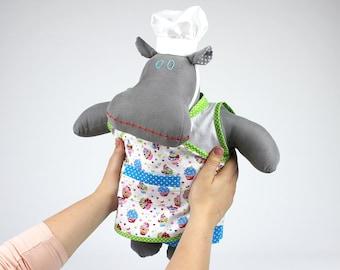 Fabric doll - Baker hippo soft doll boy - Stuffed animal hippopotamus - McKenzie the Mippo - Cuddly toy - Keepsake for toddler