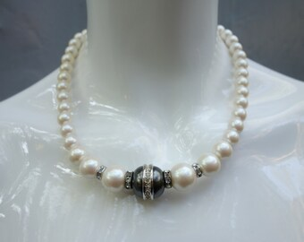 Vintage YSL Yves Saint Laurent Pearl and Rhinestone Necklace