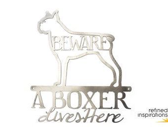 """Boxer Lives Here Metal Wall Art 
