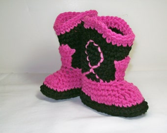 Cowgirl Baby Booties  Hot Pink & Black Crochet Cowboy Boots