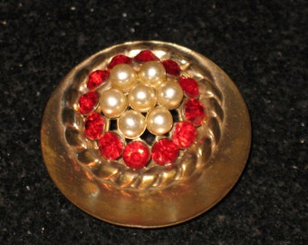 Vintage Natalie Originals Red Rhinestone and Pearl Circle Brooch Nat Levy