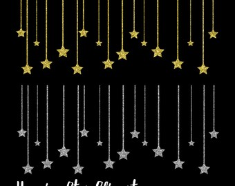 Hanging Star Clipart, Gold Star Clipart, Silver Star Clipart, Hanging Stars clipart, Hanging Star graphics, Design embellishments, accents