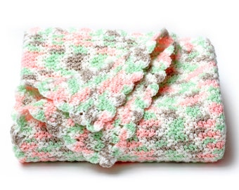 Baby Blanket. Peach and Mint Green Afghan. Pastel Keepsake Travel Size Blankie. Stroller, Carriage, or Car Seat Cover. Child Lapghan