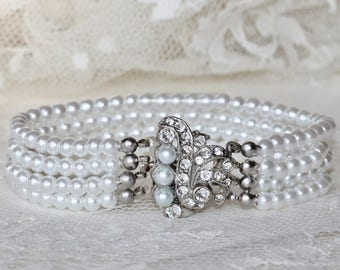 1920s AUTHENTIC Art Deco Multi Strand Pearl Bracelet,White Pearl Bracelet,Silver Paste Rhinestone Paved Clasp,Faux Pearl,Bridal,Wedding