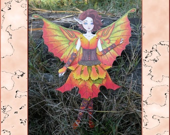 Autumn Fairy Articulated Paper Doll, Printable PDF, You Color