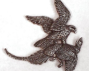 Falcon  Hitting a Ringneck  Pendent or Pin     New Design