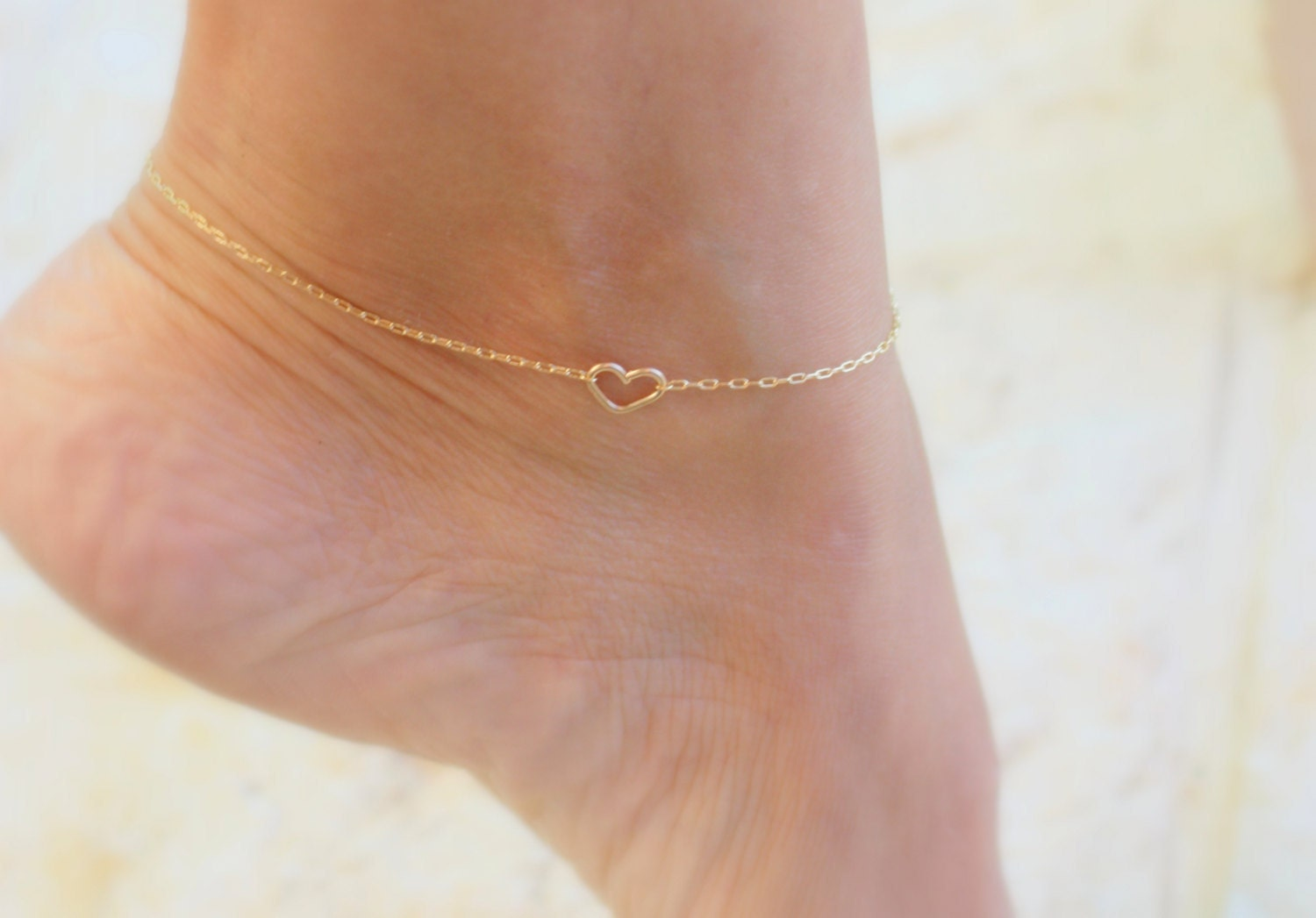 anklet gold strand get ankle white double jewelry bracelet can inch you amazon pin heart com