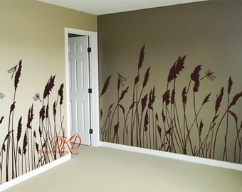 Grass Wall Decor, Nursery Wall Decal, Grass Wall Decal border, room border decal, Nature Design Wall Mural -dragonfly with Reed grass-DK200
