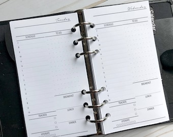 Day On One Page | DO1P| Hourly| Printed Personal Size Planner Inserts