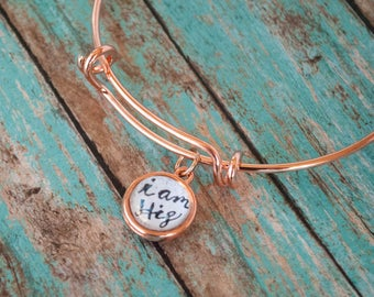 Daughter of the King Rose Gold Bangle, I am His Jewelry, Christian Graduation Gifts Under 20, Rose Gold Religious Jewelry