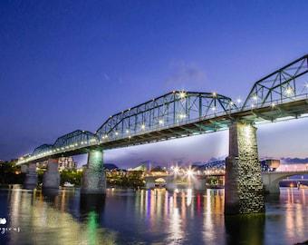 Metal Print Chattanooga Landscape  Photography Walnut St Bridge Wall Art Tennessee River Large Vivid Aluminum Metal Print 24x36 20x30 16x20