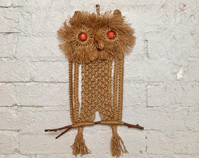 Vintage Macrame Owl Wall Hanging