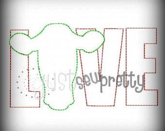 Love Cow Silhouette Applique Redwork Embroidery Design