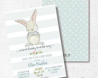 Bunny Boy Baby Shower invitation, Printable, Boy Bunny invite, Sprinkle, Baby Brunch, Sip And See, Spring, Easter, Modern