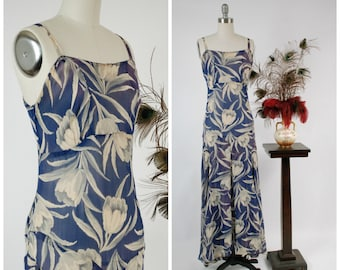 Vintage 1930s Dress - Summer 2018Lookbook - Elegant Sheer Blue, Grey and White 30s Sleeveless Sundress with Tulip Print