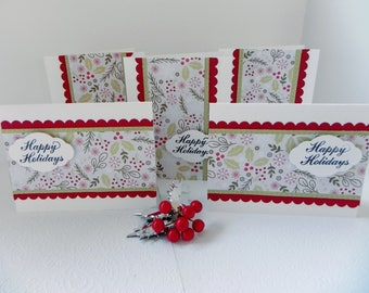 3-D HandCrafted/Stamped Christmas Cards/Set of 5/Holiday Cards/Xmas