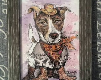 Cowboy Jack Russell Watercolor Painting / Perfect Valentine's Day Gift